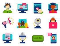 平的设计象网上教育人员培训书店遥远的学习的知识传染媒介例证 免版税库存图片
