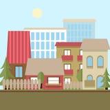 平的设计都市风景天传染媒介例证 免版税库存图片
