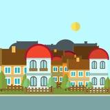 平的设计都市风景天例证 免版税库存照片