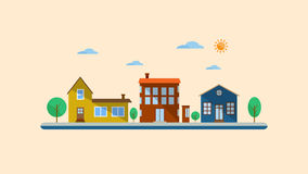 平的设计都市风景 图库摄影