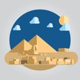 平的设计金字塔和狮身人面象在埃及illustrati 皇族释放例证