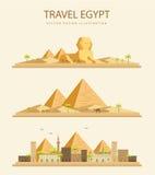 平的设计金字塔在埃及 库存图片