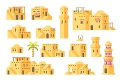 平的设计阿拉伯泥房子 免版税库存照片