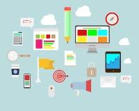 平的设计集合 通信、计算机、消息、Infographics和企业象 库存例证