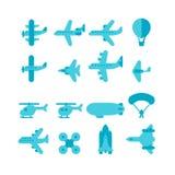 平的设计飞机集合 图库摄影