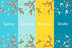 平的设计4个季节分支集合 图库摄影