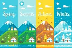 平的设计4个季节村庄 免版税库存照片