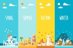 平的设计4个季节背景 库存照片
