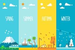 平的设计4个季节背景 库存图片