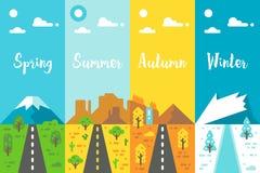 平的设计4个季节路集合 库存照片