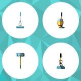 平的象擦净剂套清洁、长扫帚、笤帚和其他传染媒介对象 并且包括笤帚,拖把,桶元素 库存图片