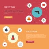 平的象病毒、安全帽、键盘和其他传染媒介元素 套安全平的象标志并且包括射击 库存例证