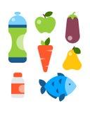 平的象被设置健身体育和健康生活方式锻炼饮食食物补充福利身体现代设计样式 向量例证