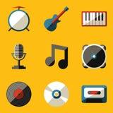 平的象集合。音乐 免版税库存照片