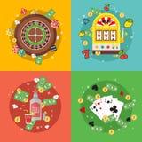 平的赌博娱乐场集合 库存图片