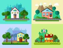 平的都市和村庄风景 向量例证