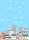 平的都市风景背景 免版税库存图片