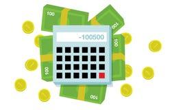 平的金钱和计算器 免版税库存图片