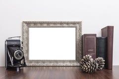 水平的银色框架 库存图片