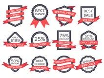 平的销售徽章 减速火箭的象征丝带横幅和老维多利亚女王时代的标签 葡萄酒销售徽章和丝带标签传染媒介 库存例证