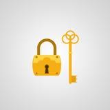 平的锁和钥匙 库存图片