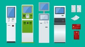 平的集合传染媒介网上付款系统和自助付款终端、借方信用卡片和现金收据 NFC 免版税库存图片