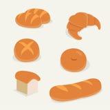 平的面包集合传染媒介有被隔绝的背景 免版税库存照片