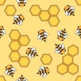 平的颜色传染媒介无缝的养蜂业样式 织品纺织品养蜂业样式 与蜂的逗人喜爱的乱画样式和 皇族释放例证