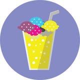 平的颜色冰茶苏打 向量例证