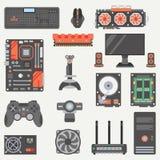 平的颜色向量计算机零件象集合 动画片样式 数字式赌博和营业所个人计算机桌面设备 向量例证