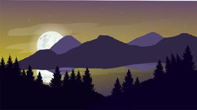 平的风景设计登上晚上 免版税库存照片