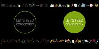 平的食物象 在黑背景和题字的标志 免版税库存图片