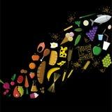 平的食物象 波形彩虹上色在黑色的标志 免版税库存图片