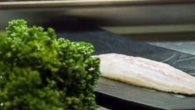 水平的移动式摄影车射击了鲜美日本食物说谎 影视素材