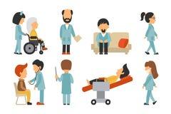 平的医护人员,隔绝在白色背景,护士,关心,人传染媒介例证,编辑可能的图表医生, 向量例证