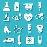 平的医疗设备在形状心脏象设置了 免版税库存照片