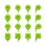 平的绿色地图别针信号点象 免版税库存照片
