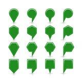 平的绿色地图别针信号点象 免版税库存图片