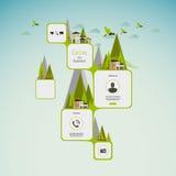 平的绿色抽象网络设计/Eco平的样式Infographics。/Vintage颜色 库存照片
