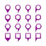 平的紫色颜色表别针信号点象 免版税库存照片