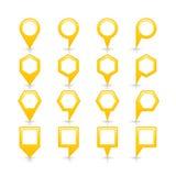 平的黄色颜色表别针信号点象 免版税库存图片