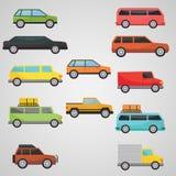 平的12辆汽车运输集合 库存图片