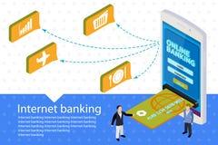 平的3d互联网银行业务传染媒介横幅 现代流动智能手机 免版税库存图片