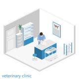 平的3D兽医诊所例证等量内部  库存照片