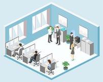 平的3d等量办公室地板内装部概念 库存图片