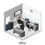 平的3d等量抽象办公室地板内装部概念 免版税图库摄影