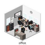 平的3d等量抽象办公室地板内装部概念 库存图片