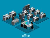 平的3d等量抽象办公室地板内装部概念 免版税库存图片