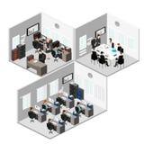 平的3d等量抽象办公室地板内装部概念 免版税库存照片