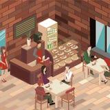 平的3D等量设计内部咖啡馆或餐馆 免版税图库摄影